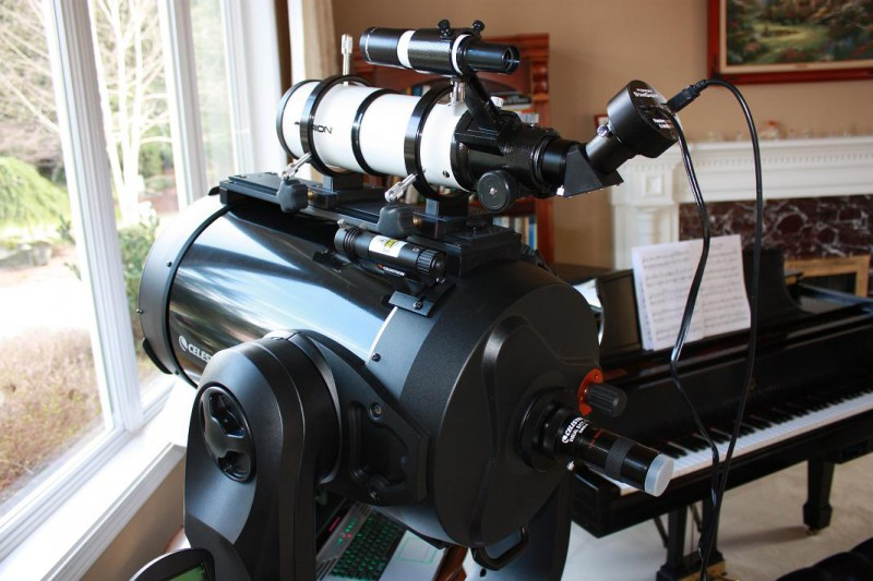 CPC 1100 mounted Alt Az with ST80 Guidescope